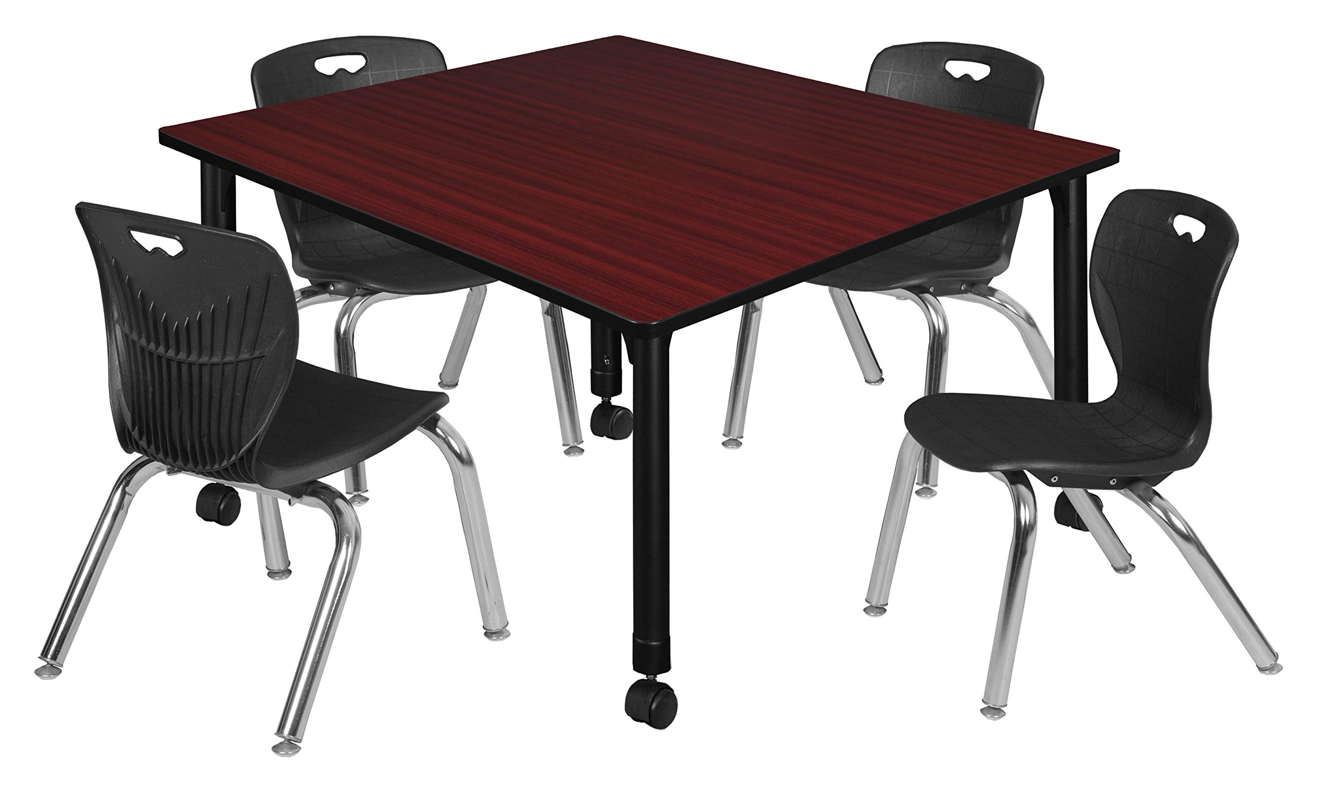 Regency TB4848MHAPCBK45BK Kee Height Adjustable Mobile Classroom Table Set with Four 12'' Andy Chairs 48'' Mahogany/Black