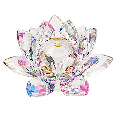 Amazon ownmy sparkle crystal lotus flower hue reflection feng ownmy sparkle crystal lotus flower hue reflection feng shui home decor with gift box 3 mightylinksfo Image collections