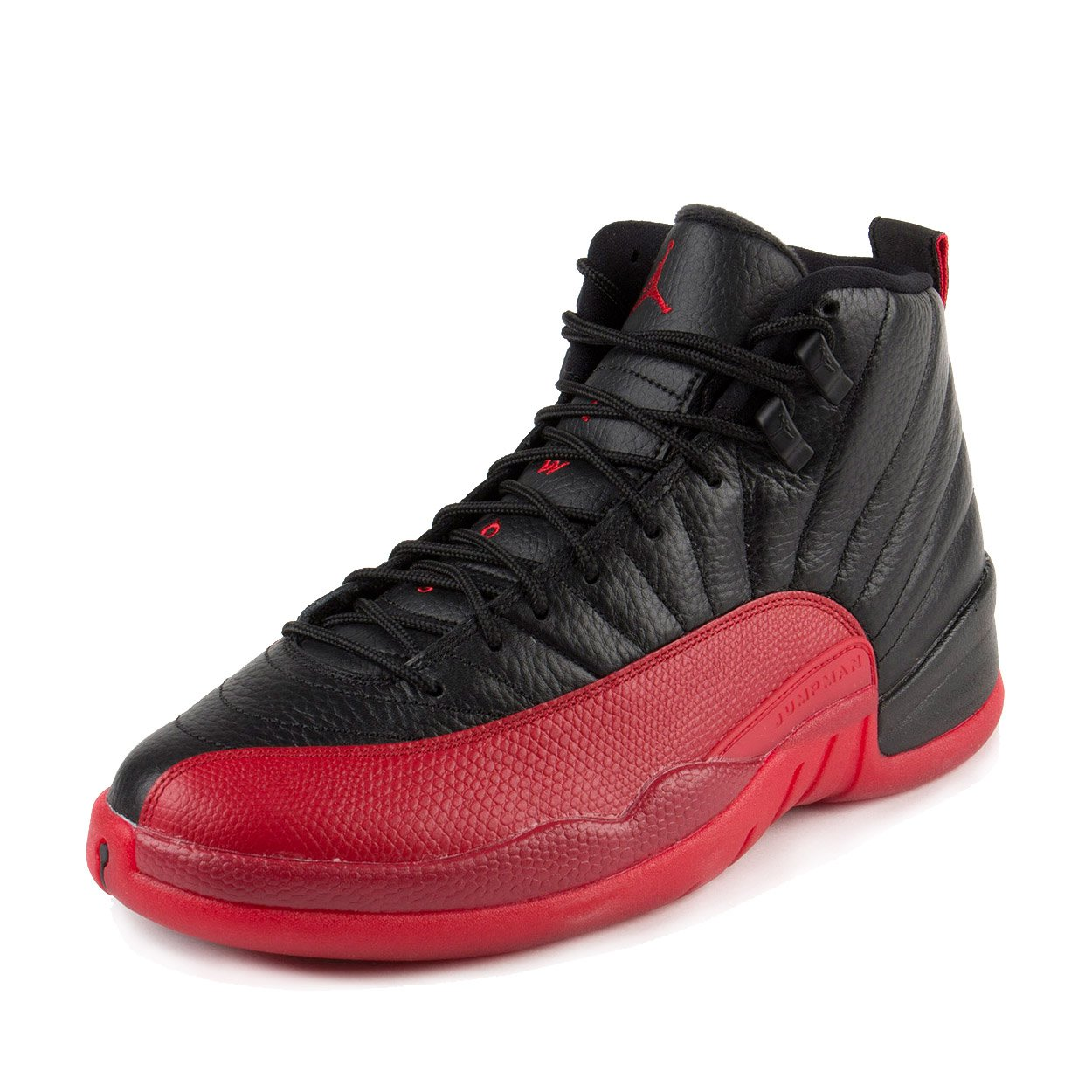 Jordan Nike Mens Air 12 Retro Flu Games Black/Varisty Red Leather Size 11.5 by Jordan