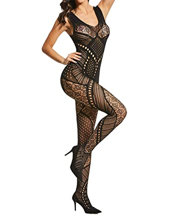 499d9fb759 Alebear Women s Sexy Lingerie Fishnet Bodystocking Crotchless Bodysuit  Tights