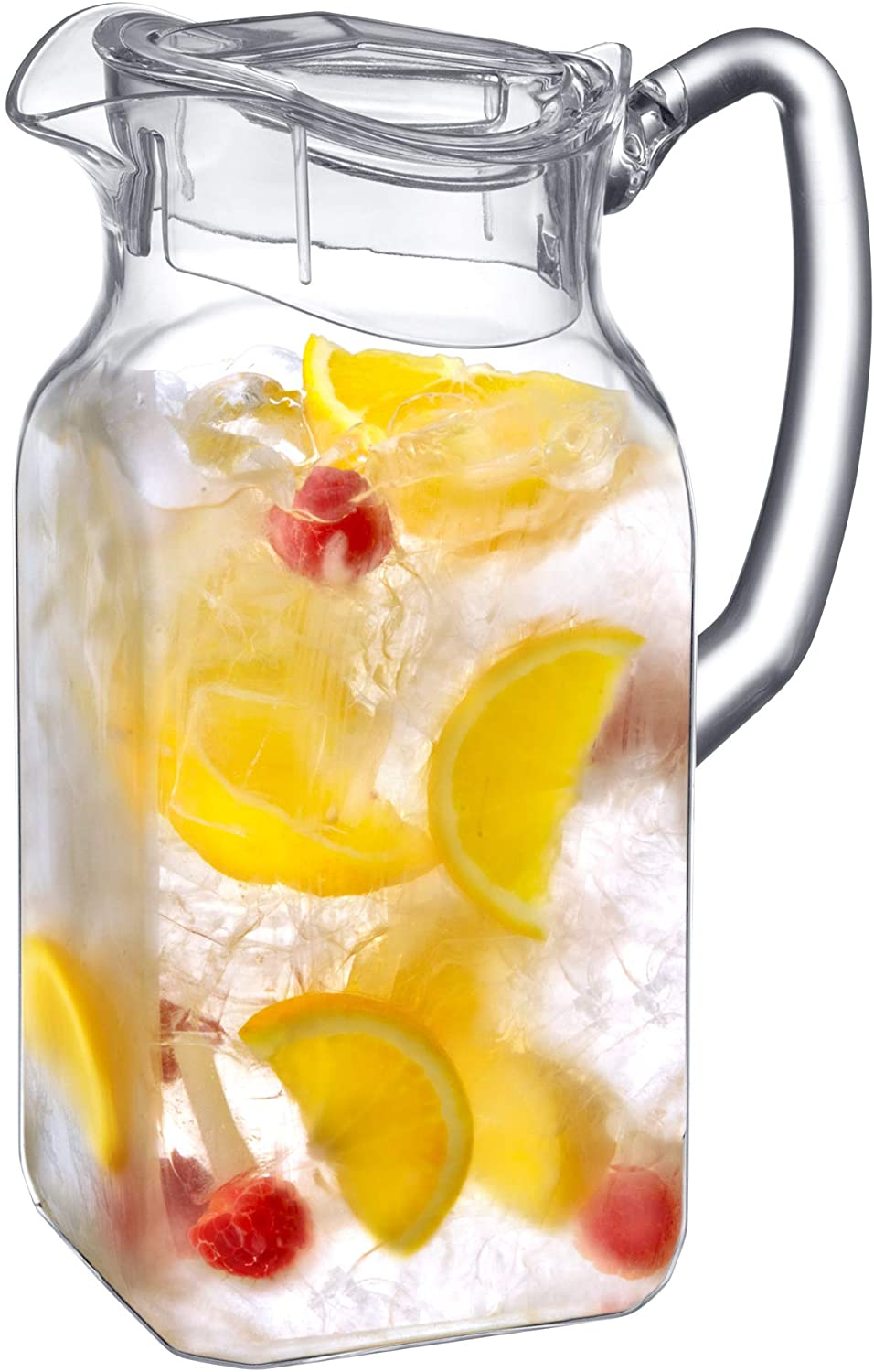 Amazing Abby Quadly - Acrylic Pitcher (72 oz), Clear Plastic Pitcher, BPA-Free and Shatter-Proof, Great for Iced Tea, Sangria, Lemonade, and More