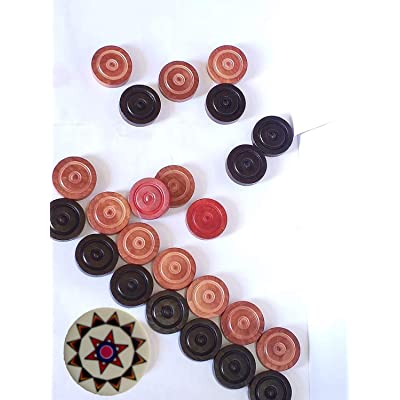 Carrom Board Coins and Striker Professional Solid Set, Wooden Checkers with Stackable Ridge ( 24 Carrom Board Pieces with Cover/Striker Case + 1 Striker Random Color ) – White/Red/Black: Toys & Games
