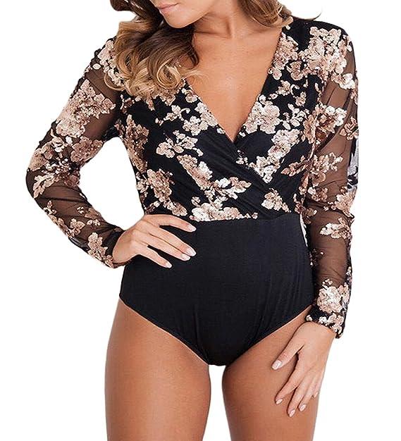 Amazon.com  Ytwysj Women Sexy V Neck Rose Gold Sequin Mesh Long Sleeve Bodysuit  Jumpsuit Romper  Clothing 220c38eef