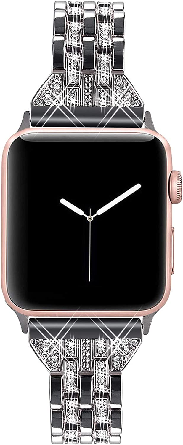 VIQIV Bling Bands for Compatible Apple Watch Band 38mm 40mm 42mm 44mm iWatch Series 5 4 3 2 1, Womens Elegant Slim Crystal Diamond Jewelry Metal Wristband Strap