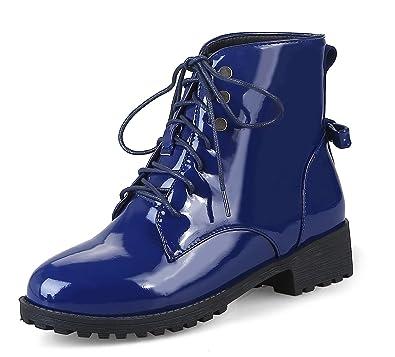 Honeystore Damen Stiefeletten Lack   Worker Boots Schnürer   Grunge Punk  Schuhe   Leder-Optik d3c7353f1e
