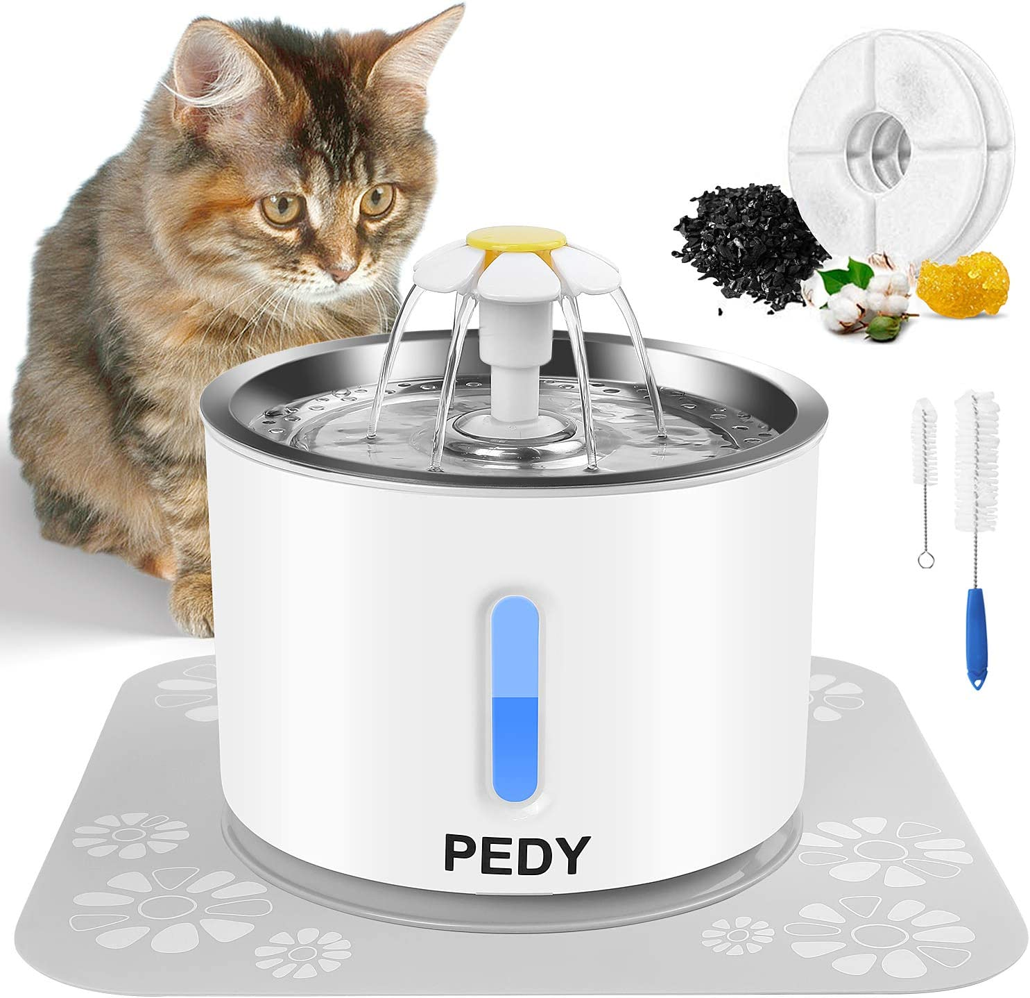 Pedy Cat Water Fountain, Automatic Pet Fountain with LED Light Switch & Water Level Window, 81oz/2.4L