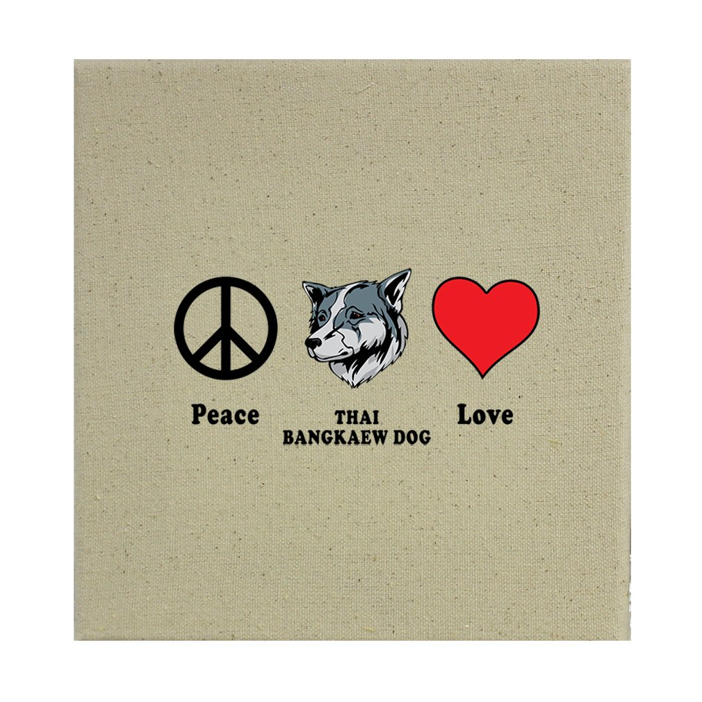 Style in Print Stretched Natural Canvas Peace Love Thai Bangkaew Dogdog 12''X12'' by Style in Print