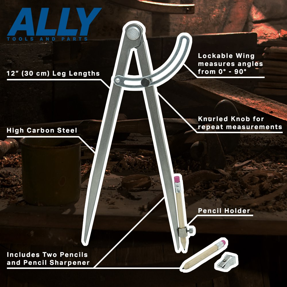 ALLY Tools 12'' Wing Divider Pencil Holder/Compass Scribe Kit INCLUDES Two Pencils and Metal Pencil Sharpener Ideal for Drawing Circles, Scribing Wood, Scribing Metal, Drafting, and Map Plotting by ALLY Tools and Parts (Image #2)