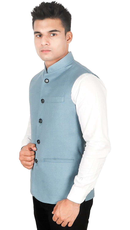 Buy La Rainbow Men S Tweed Nehru Jacket Special Blue At Amazon In