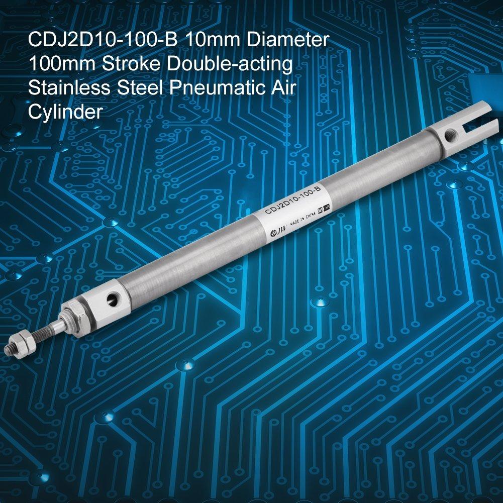 CDJ2D10-100-B Pneumatic Air Cylinder 10mm Diameter 100mm Stainless Steel Stroke Screwed Piston Rod Dual Action