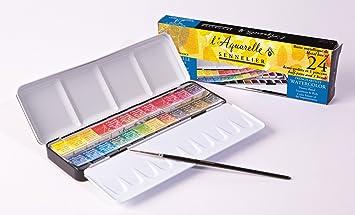 Sennelier Aquarellfarben Metall Tin Von Classic - Estuche de acuarelas (24 medios godets): Amazon.es: Oficina y papelería