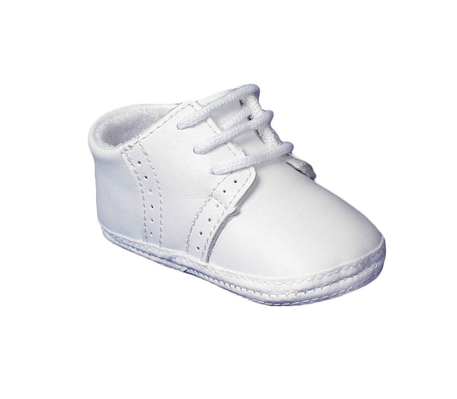 Little Things Mean A Lot Baby Boys All White Genuine Leather Saddle Oxford Crib Shoe with Perforations - 2
