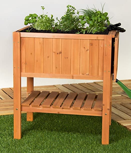 Bancal – Mesa para plantas aromáticas. Madera de abeto con estante ...