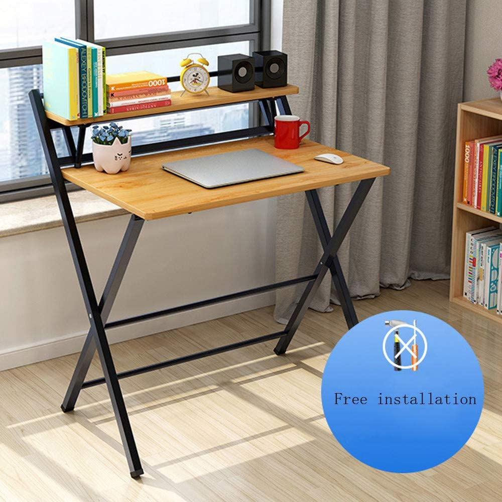 Genamis Folding Computer Desk Small Laptop Table for Small Space, Foldable Study Writing Desk with Storage Bookshelf, Home Office Simple Heavy Duty Notebook Table, No Need to Install (Yellow)