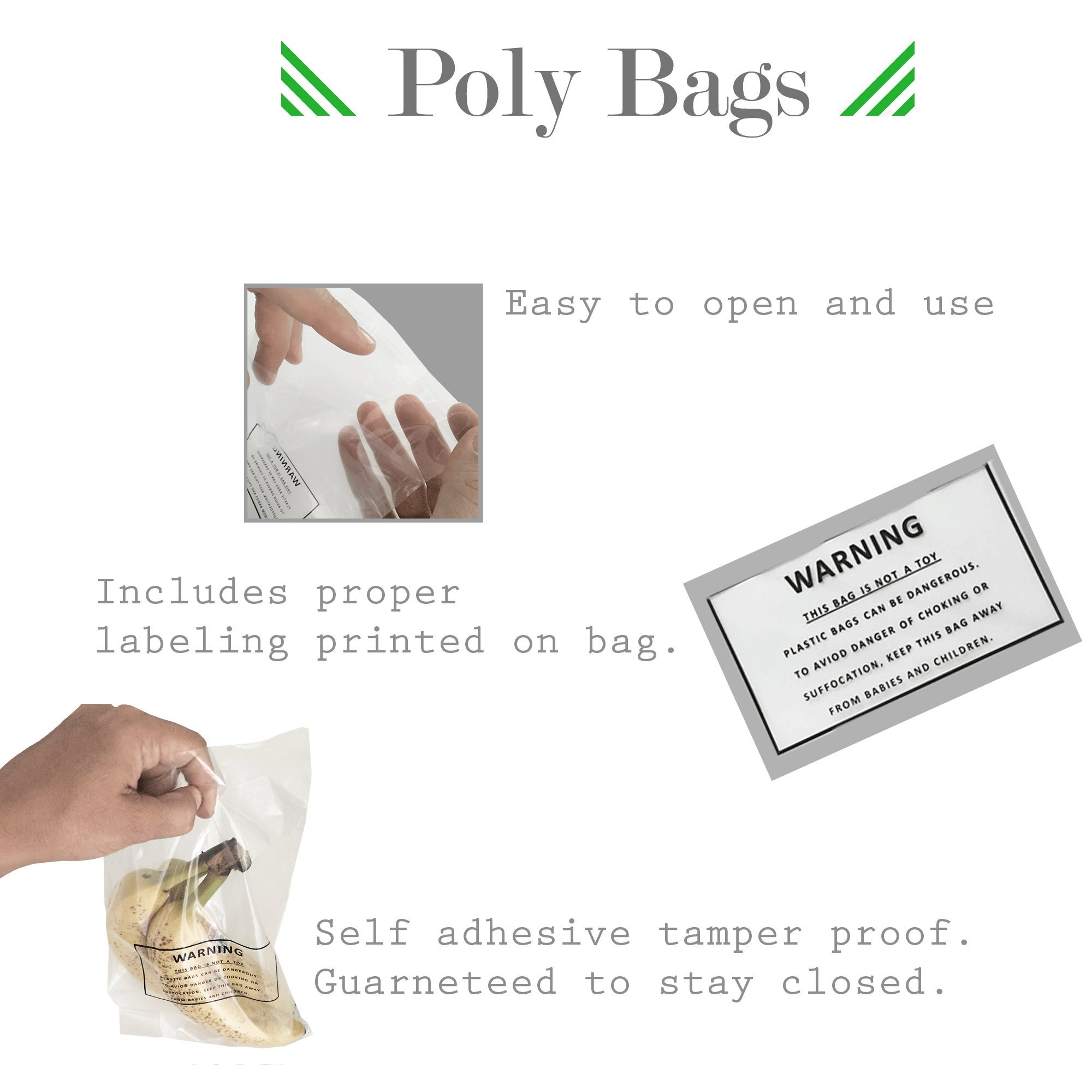 Self Sealing Clear Poly Bags - Suffocation Warning Bags - 1.5mil for FBA - 6 x 9 Pack of 100, 500, or 1000 Bags (1000 Bags) by Sure Luxury