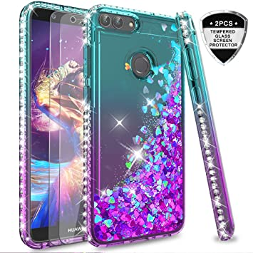 promo code 22c69 77e8f LeYi Case for Huawei P Smart with Glass Screen Protector [2 pack], Glitter  Liquid Flow Luxury Clear Transparent Diamond Personalised TPU Silicone ...