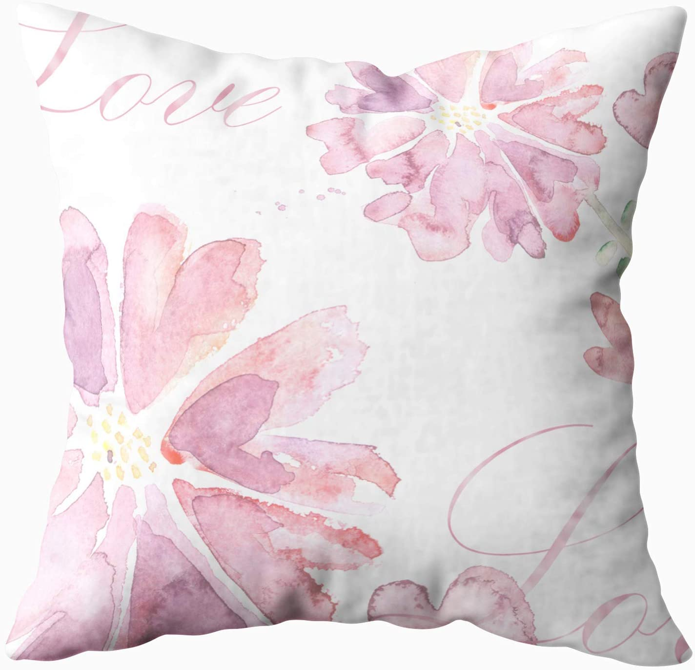 Amazon Com Emmteey Decorative Pillows For Couch 16x16 Pillow Covers Home Throw Pillow Covers For Sofa Beautiful Spring Pink Flowers Watercolor Illustration Floral Background Love Square Double Sided Printing Home Kitchen