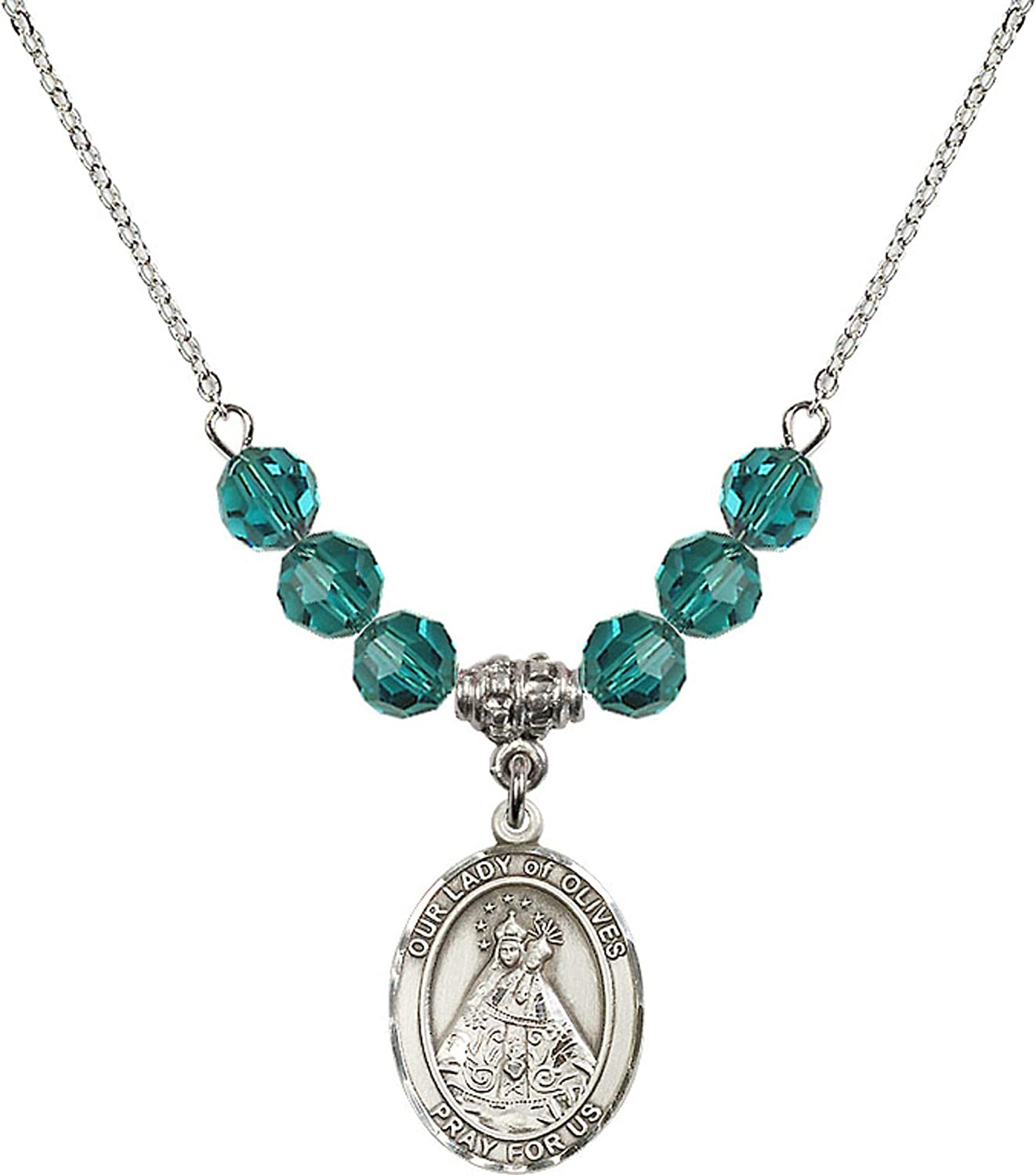 Bonyak Jewelry 18 Inch Rhodium Plated Necklace w// 6mm Blue December Birth Month Stone Beads and Our Lady of Olives Charm