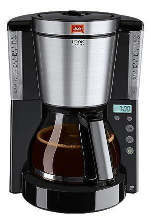 Melitta Cafetera de filtro con jarra de vidrio, Función temporizador y conservación de temperatura, Selector de aroma, Look Timer, Negro/Acero inoxidable ...