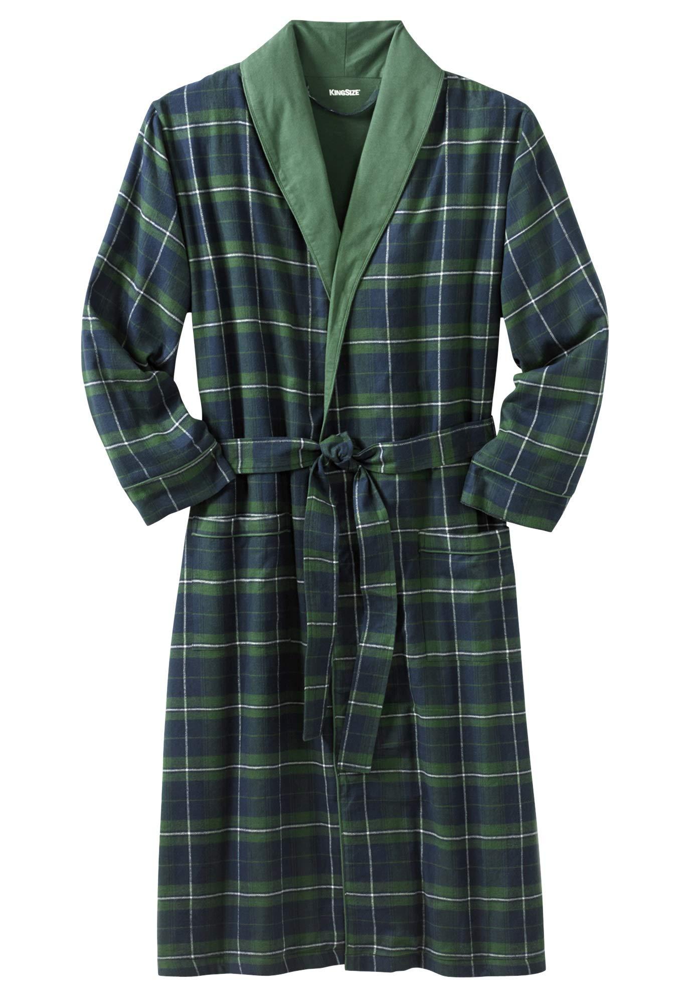 KingSize Men's Big & Tall Jersey-Lined Flannel Robe, Balsam Plaid Big-7Xl/8X