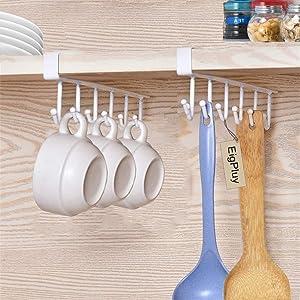EigPluy 2pcs Mug Hooks Under Cabinet Cups Wine Glasses Storage Hook Multifunction Nail Free Coffee Cups Holder Kitchen Utensil Holder Ties Belts Scarf Hanging Hooks Rack Holder,White