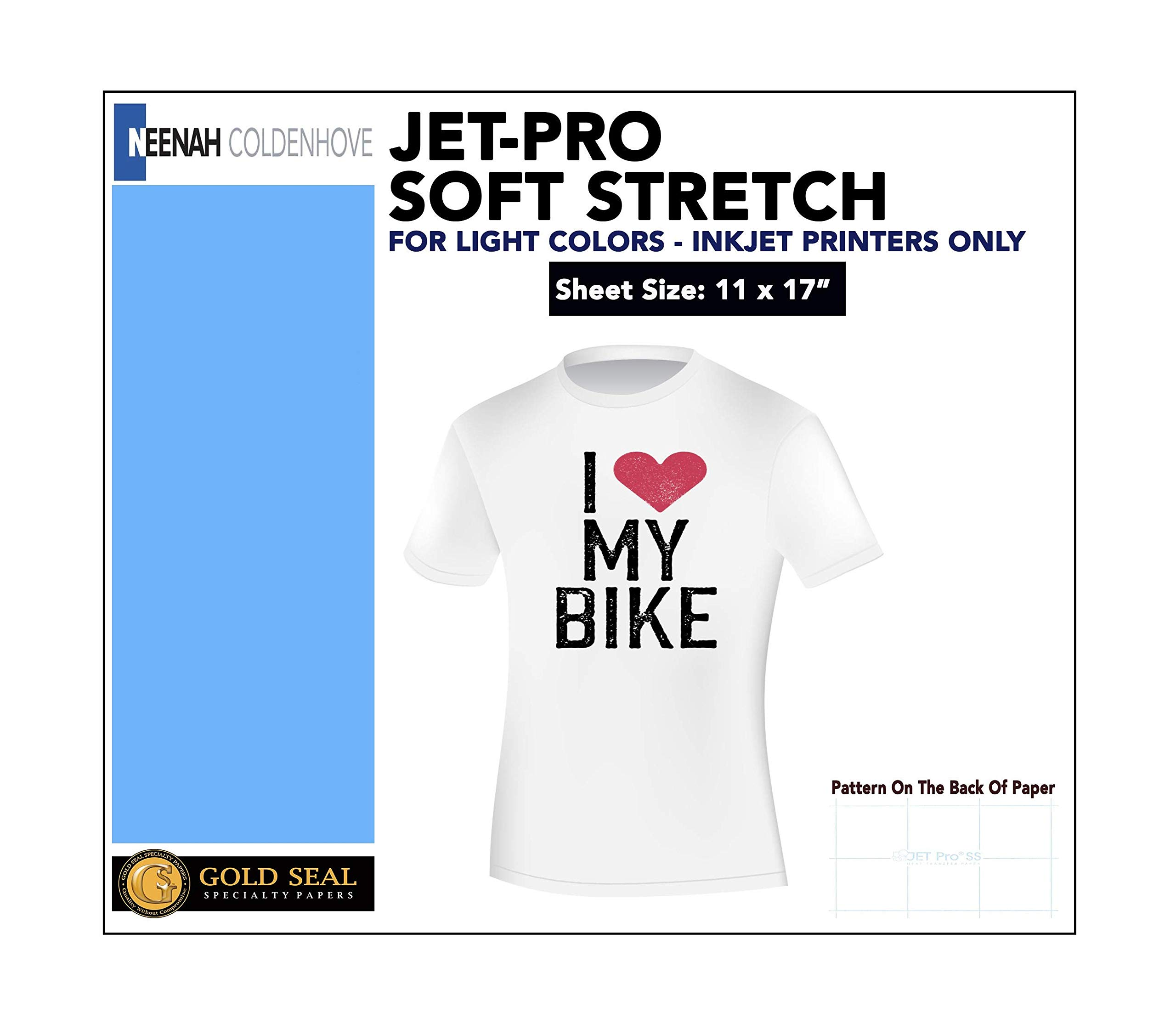 IRON ON HEAT TRANSFER PAPER JET-PRO SS SOFSTRETCH 11 x 17'' CUSTOM PACK 100 SHEETS by Neenah