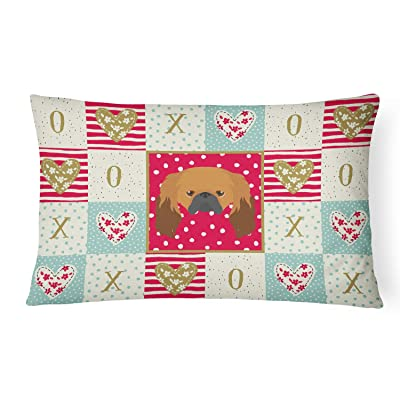 Caroline's Treasures CK5225PW1216 Pekingese Love Canvas Fabric Decorative Pillow, 12H x16W, Multicolor : Garden & Outdoor