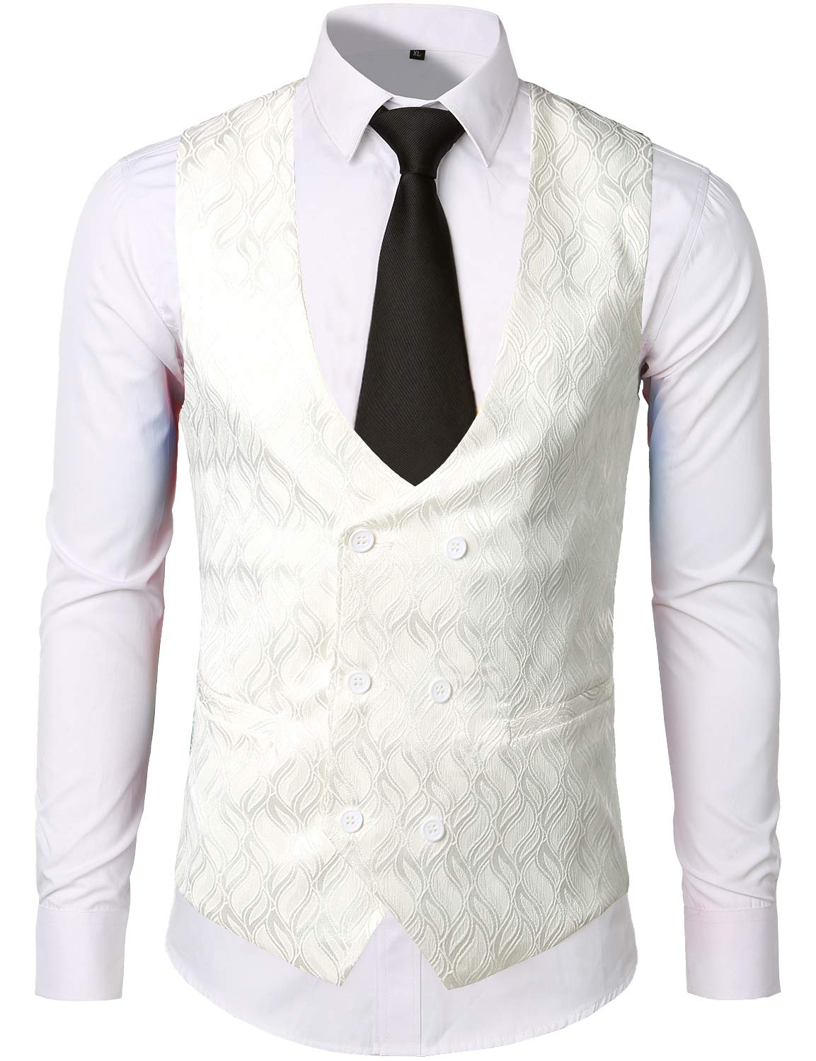 ZEROYAA Mens Hipster V Neck Slim Fit Double Breasted Paisley Dress Vest for Suit or Tuxedo 3