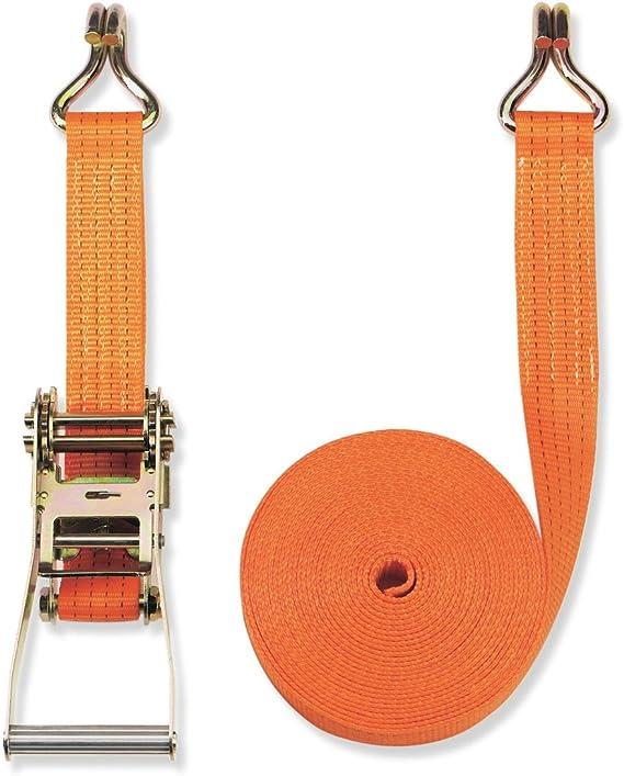 Braun color naranja 2000 daN, 2 piezas, 6 m, 35 mm de ancho Pulpo con hebilla y ganchos dobles para baca