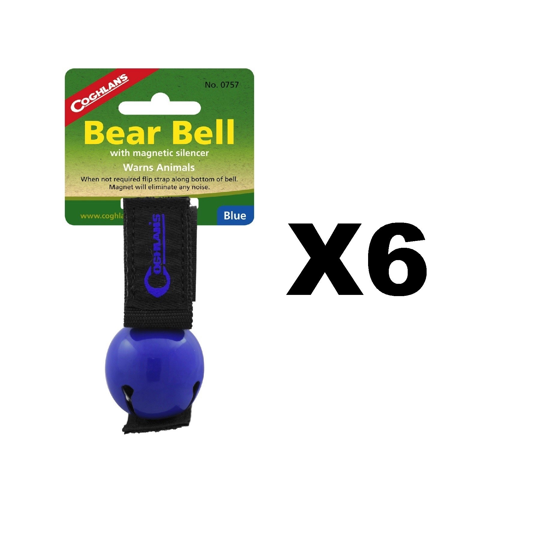 Coghlan's Bear Bell Blue w/Magnetic Silencer & Loop Strap Warns Animals (6-Pack)