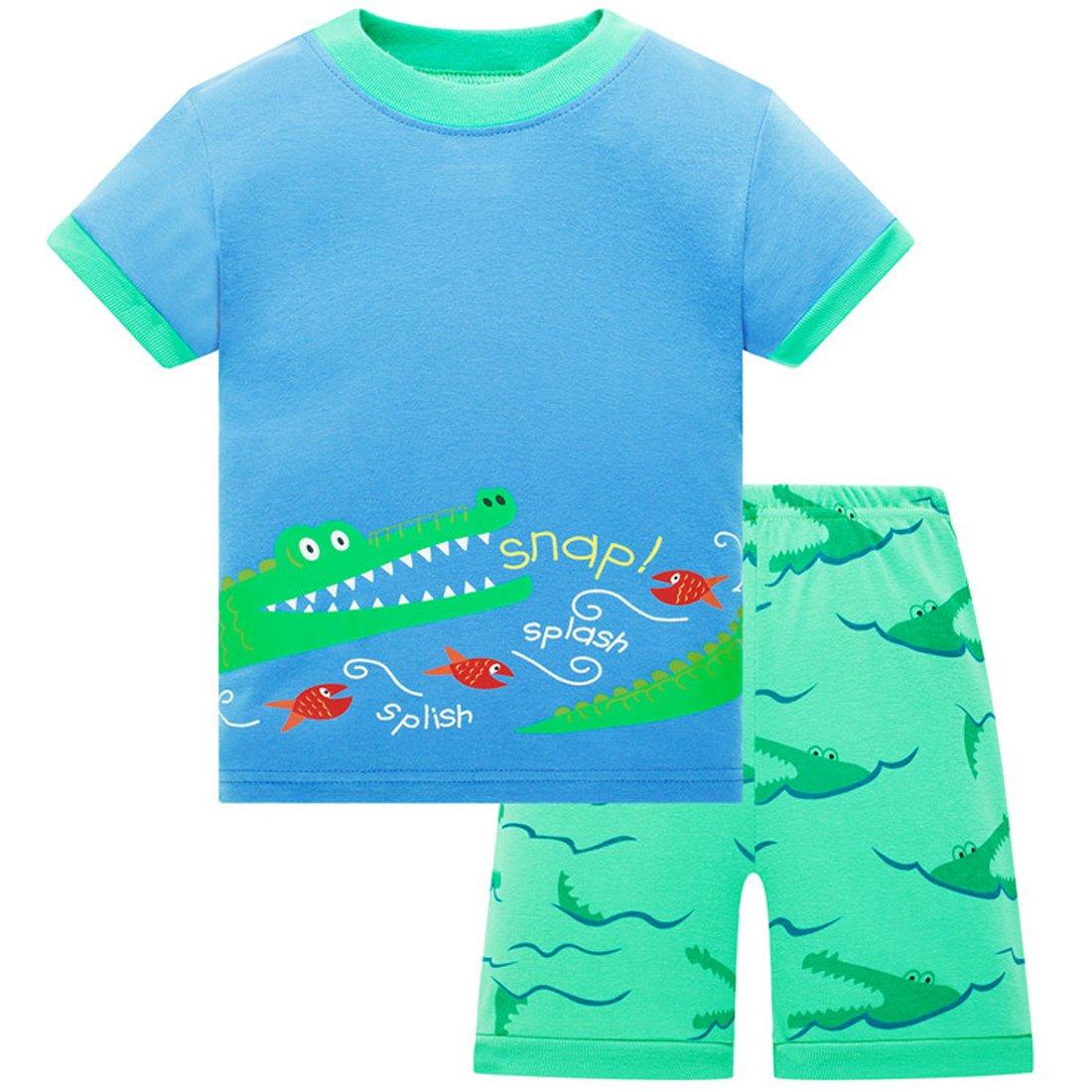 Toddler Boy Pajamas Children Shorts Set Summer Cotton Sleepwear Clothes Size 6