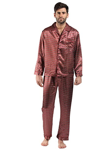 Mens Satin Pyjama Sets Nightdress Silky Satin Long Satin Pajamas M -Maroon