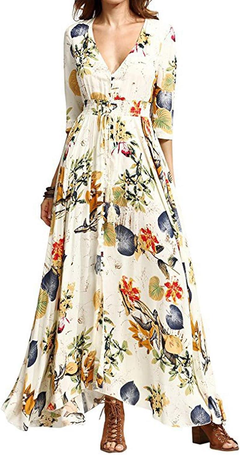 Womens Boho Floral Maxi Dress Summer Beach Holiday Cocktail Long Sundress YI