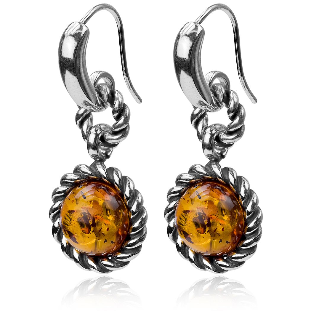 Amber Sterling Silver Round Victorian-style Hook Earrings