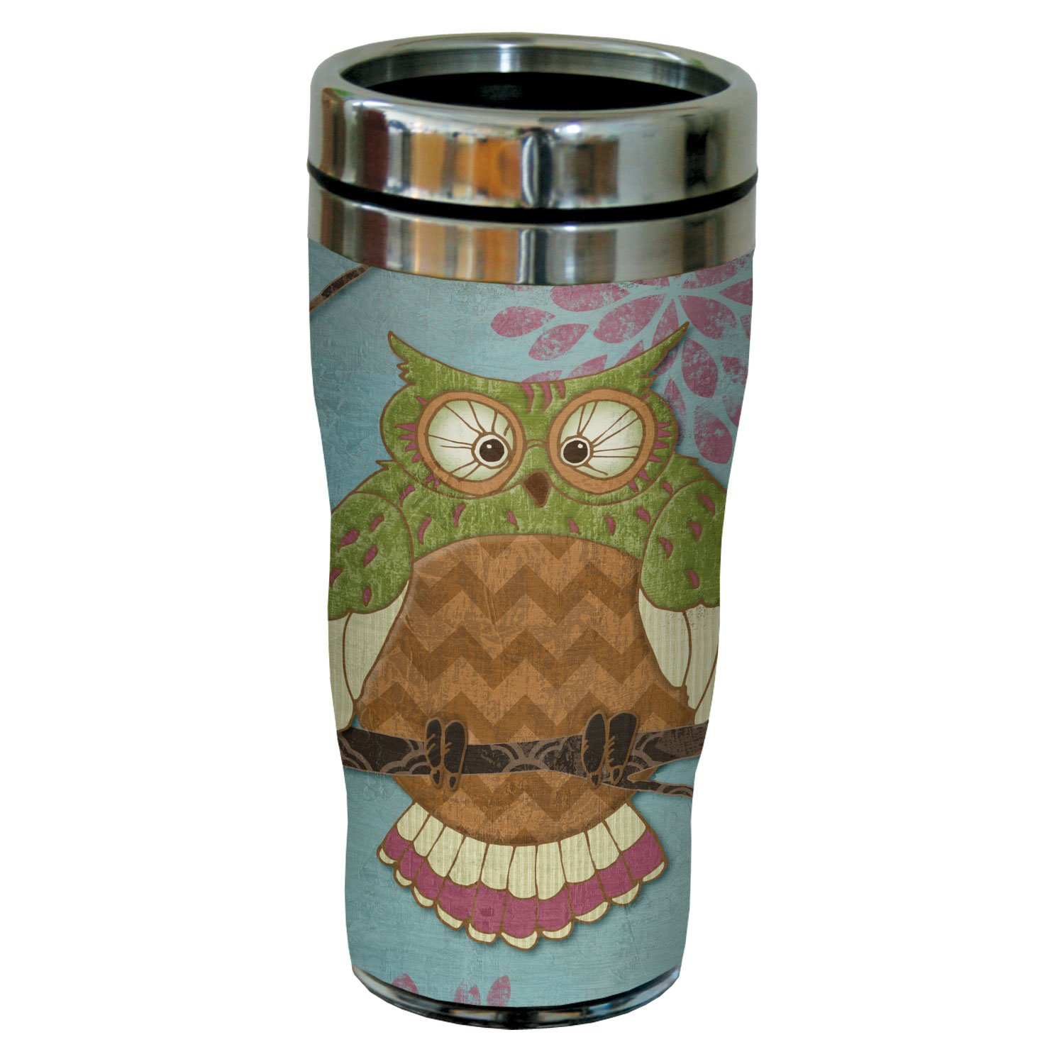 Tree-Free Greetings sg23429 Whimsical Owl on Blue by Paul Brent Sip N Go Stainless Steel Tumbler 16-Ounce