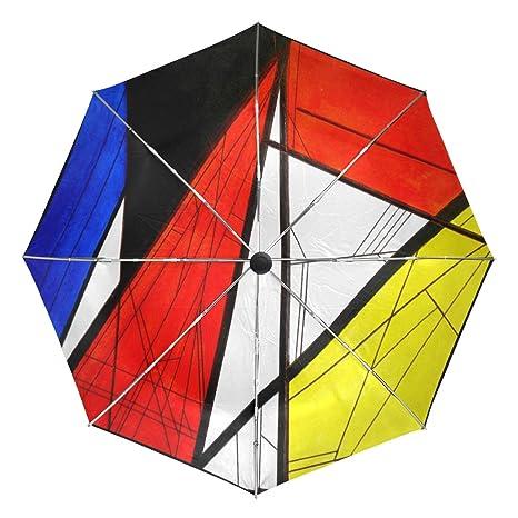 COOSUN Dibujo original Línea geométrica del triángulo automático 3 plegable Sombrilla de Protección Solar anti-