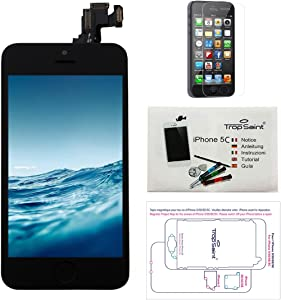Trop Saint Screen Black for iPhone 5C Replacement Screen Repair Kit iPhone with Magnetic Screw Card, Tool, Instructions and Screen Protector
