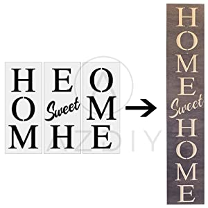 Home Sweet Home Sign Stencil 3 PCS Large Vertical Stencils for Porch Sign AZDIY Reusable Stencils for Painting on Wood Large Farmhouse Stencils for Holiday Decorating Chalk Couture for Home Décor & DI
