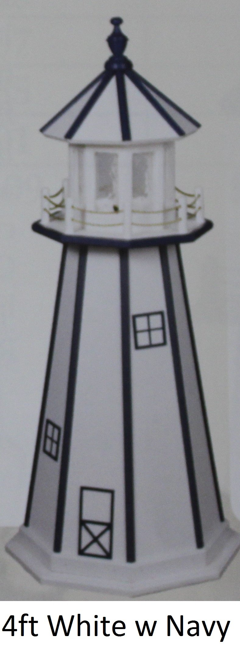 Amish-Made Hybrid (Wood and Poly) Lighthouses - White with Navy Trim, 5' Tall by Beaver Dam Woodworks
