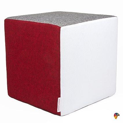 Pouf Cubo.Arketicom Rubick Pouf Puff Cubo Poggiapiedi In Tessuto Cotone E Poliestere Sfoderabile Con Zip E Poliuretano Alta Densita Bianco Rosso Grigio