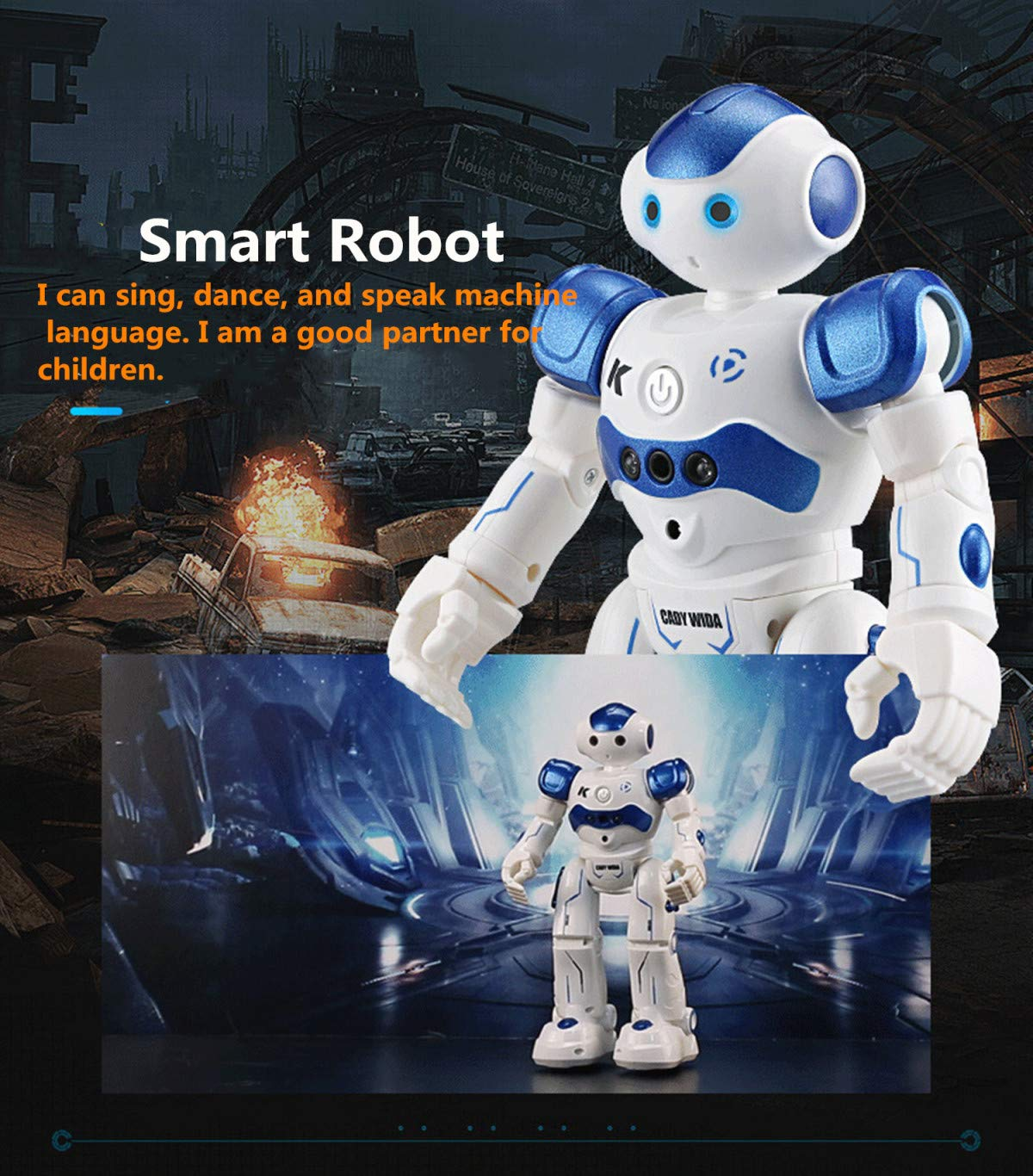 WEECOC Smart Robot Toys Gesture Control Remote Control Robot Kids Toys Birthday Can Singing Dancing Speaking Two Walking Models (White) by WEECOC (Image #4)