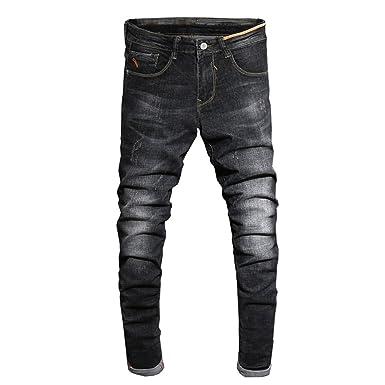 720b0a74876 George Gouge 2018 Spring Autumn Jeans Men Black Slim Fit Denim Pants Cotton  High Stretch Long Trousers Man Homme 38 at Amazon Men s Clothing store
