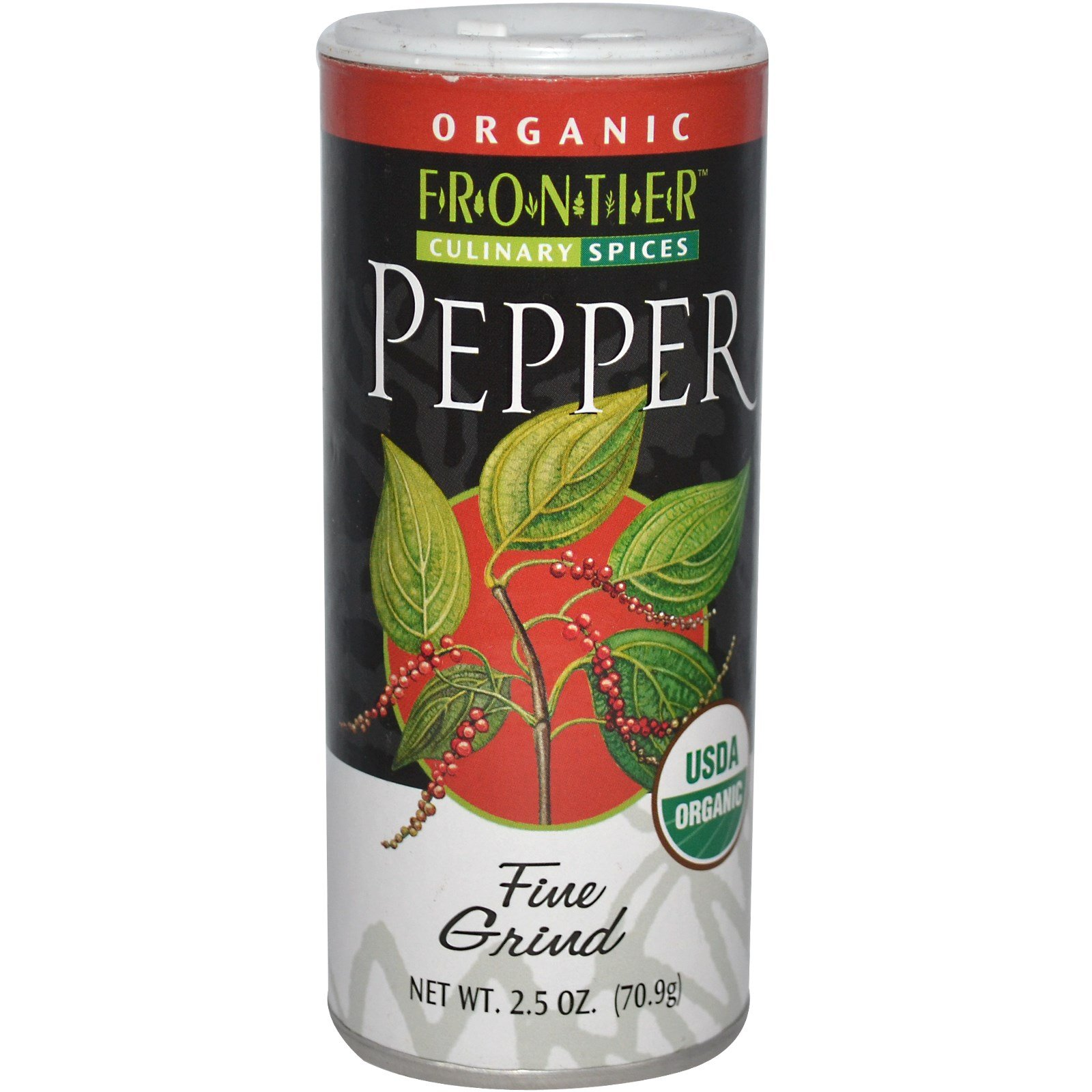 Frontier Natural Products, Organic Black Pepper, Fine Grind, 2.5 oz (70.9 g)