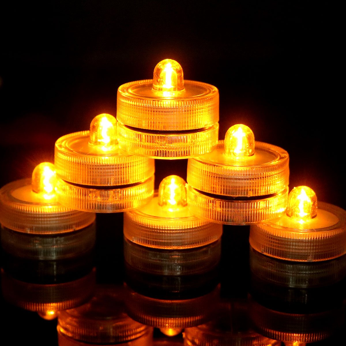 Youngerbaby 12pcs Submersible Flameless Tea Light Battery Operated Waterproof LED Tealights Yellow Underwater Vase Light for Xmas/Holiday/Winter Decorations Ornaments Party Supplies