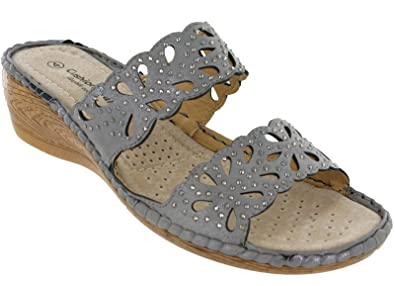 de71e09d6da Cushion Walk Open Toe Wedge Sandals Slip On Cushioned Womens Maldives UK  3-8 (
