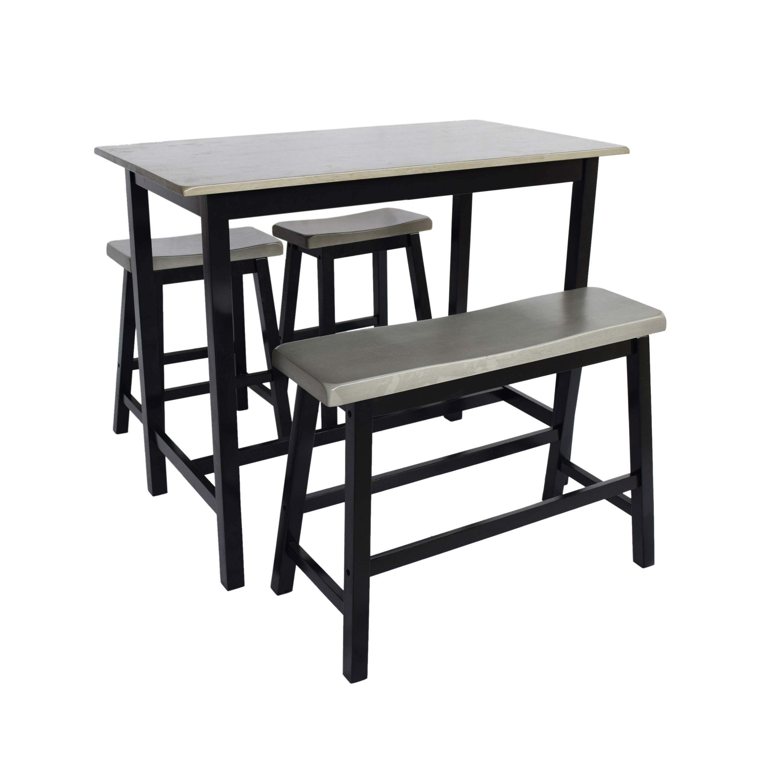 Great Deal Furniture Toluca Farmhouse 4 Seater Rubber Wood Counter Dining Set, Gray and Black by Great Deal Furniture