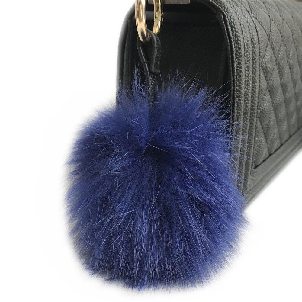 Royal Blue 10CM Real Fox Fur Pom pom Ball Handbag Charm Keychain Car Keyring