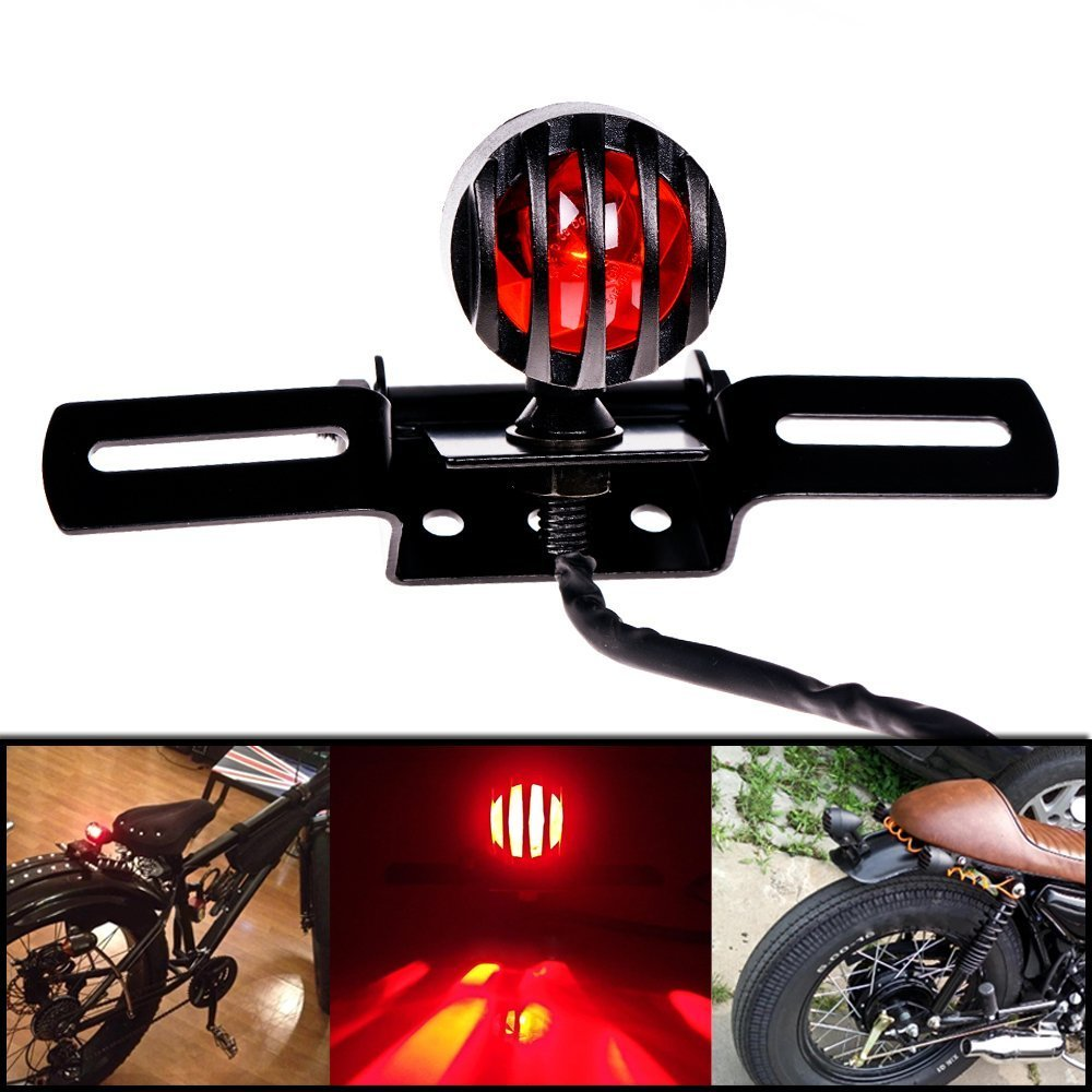 DLLL Universal Motorcycle Motorbike Grill License Bracket Plate Brake Stop Tail Light