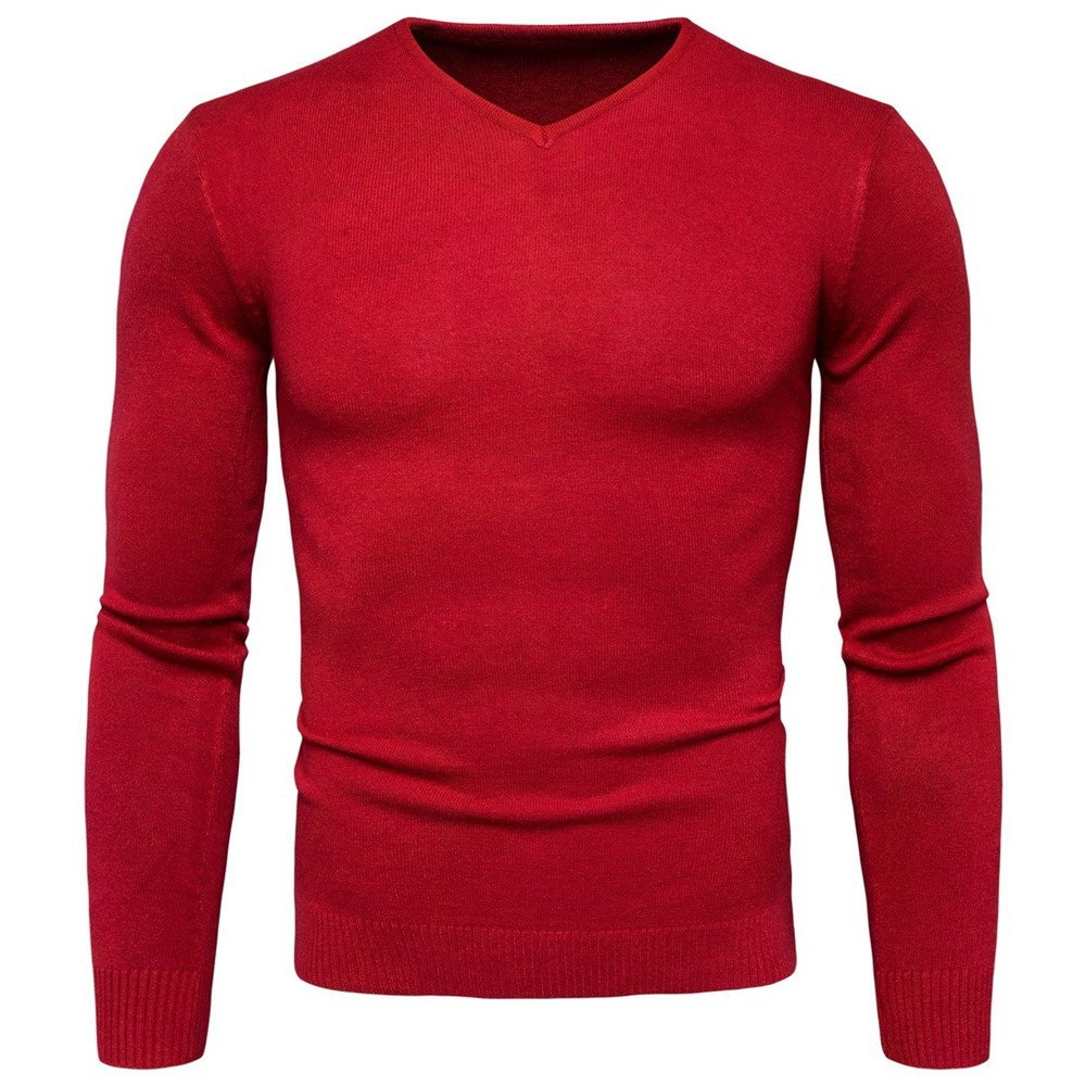 Langärmelige pullover mens   hals pullover solide langärmelige pullover,Rot - rot,L