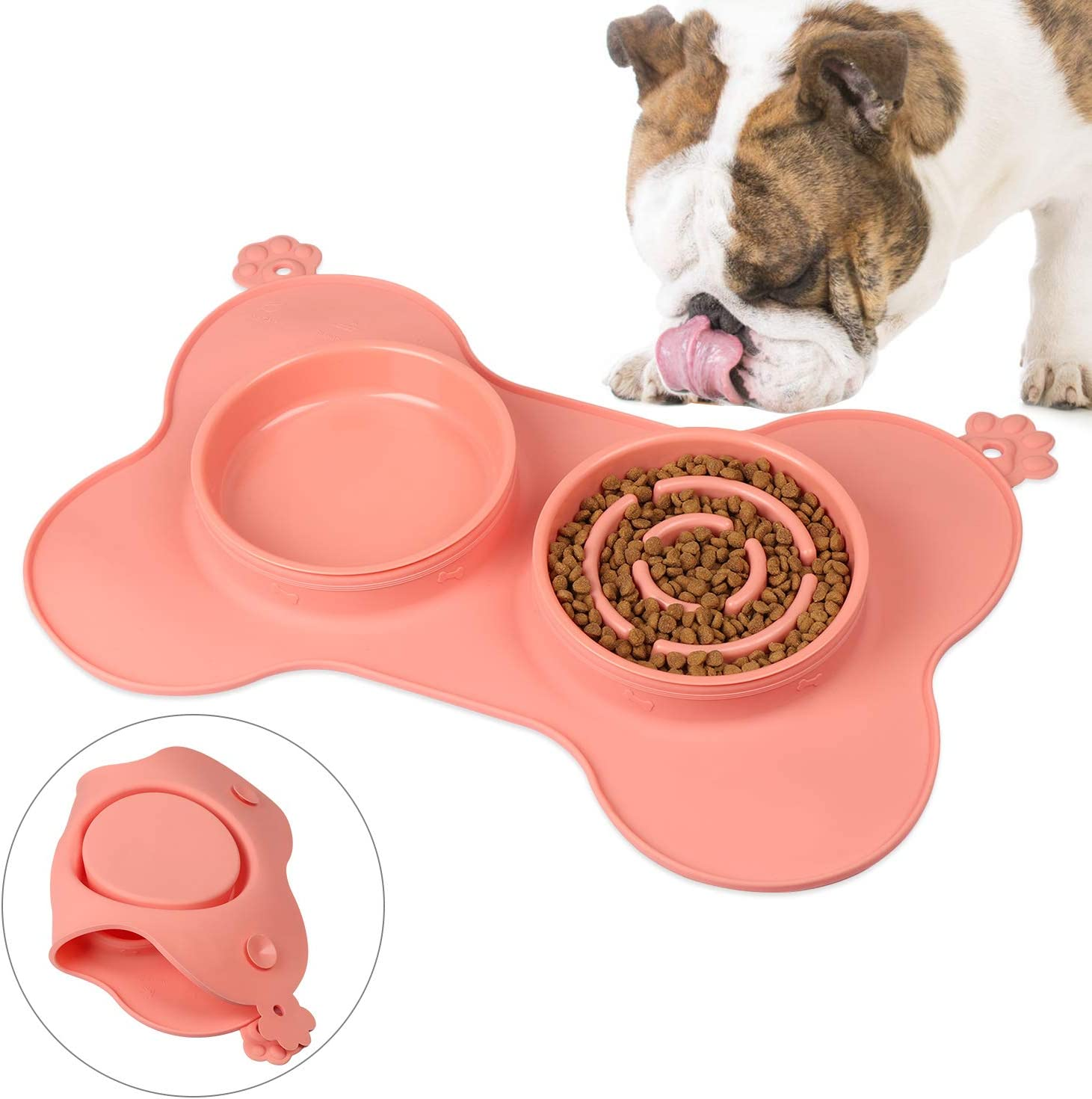 gootrades Foldable 2 Cups Slow Feeder Dog Bowl 3 in 1 ,to Slow Down Eating for Large Small Dogs, with No-Spill Non-Skid Silicone Mat Stainless Steel Water Bowl (Pink)